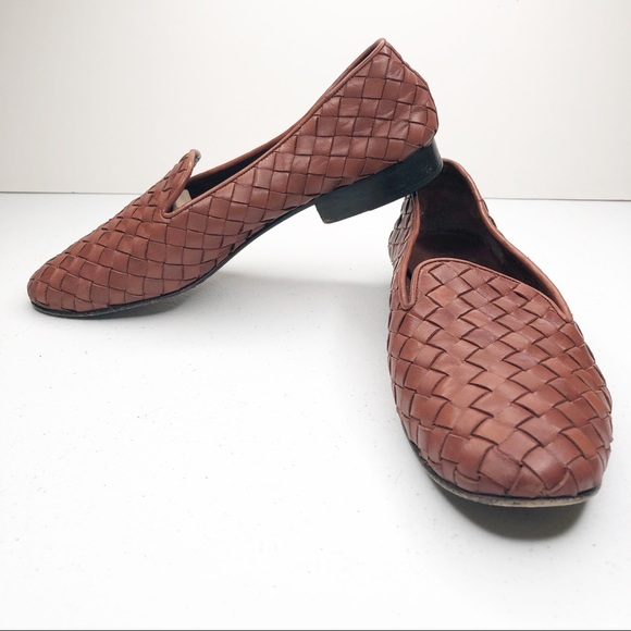 936c8e16b958f Cole Haan Brown Woven Leather Loafers Sz 7.5